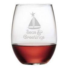 4 Piece Seas Greetings Stemless Wine Glass Set