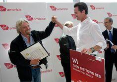 Sir Richard Branson celebrates our inaugural flight into SFO with then Mayor of San Francisco Gavin Newsom