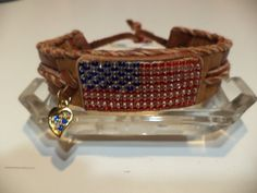 Loomed American Flag Seed Beaded Adjustable by LittleCanaryandCo, $30.00