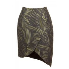 Asymmetrical Leaves Printed Skirt (145 CAD) ❤ liked on Polyvore featuring skirts, green skirt, asymmetrical skirt et green asymmetrical skirt