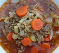 Happier Than A Pig In Mud: Easy Hamburger Soup-A low carb, diabetic friendly recipe