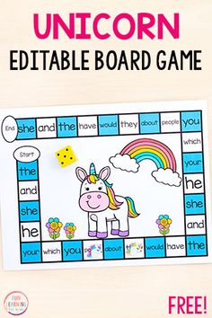 Board games 212021095097896467 - The kids will love playing this editable unicorn board game! Use it to teach sight words, letter identification, letter sounds, math facts and more! Source by funlearningforkids Teaching Sight Words, Sight Word Practice, Sight Word Activities, Sight Word Wall, Literacy Games, Classroom Games, Kindergarten Activities, Kindergarten Sight Word Games, Classroom Decor