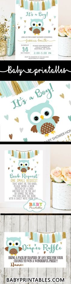 It's a Boy! Celebrate your bundle of joy with these charming owl baby shower set featuring an adorable baby bird in Tiffany blue and brown against a white backdrop surrounded by multi-colored hearts. The owl baby shower invitations are decorated with a beautiful tassel garland bunting in shades of white, blue and gold. The perfect owl baby shower invitations for boy. #babyshower #babyshowerinvitations #babyshowerideas4u #babyshowerparty