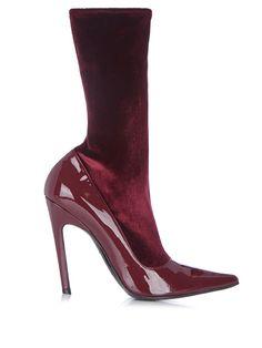 Boudoir velvet and leather ankle boots | Balenciaga | MATCHESFASHION.COM US