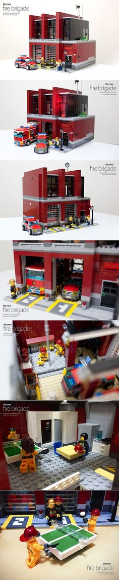 [ MOC ] Modern Fire Brigade - Comme un camion Train Lego, Lego Trains, Lego Modular, Lego Design, Lego City Sets, Lego Sets, Village Lego, Lego Structures, Lego Boards
