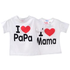 Nice Baby Kids Unisex Boys and Girls Short Sleeve T-shirt I Love Mama & Papa Love Section Cotton Tops Tee Shirt H8 - $ - Buy it Now!