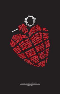 Music Lyrics Typographic Posters - Nicholas Huggins