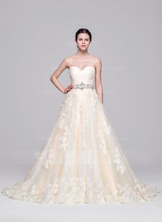Ball-Gown Sweetheart Court Train Tulle Wedding Dress With Ruffle Beading Appliques Lace Sequins (002071609)