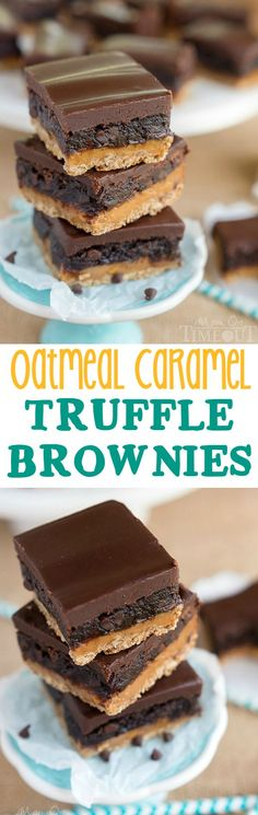 Four layers of intense flavor will have you craving these Oatmeal Caramel Truffle Brownies day and night! An oatmeal cookie crust topped with rich caramel, fudgy brownie and ganache frosting. Welcome to paradise.   MomOnTimeout.com   #IDelightIn10 #recipe