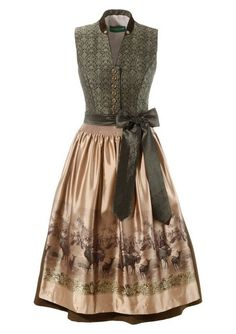 Dirndl midi mit Samtkragen, Country Line bei ♕ Universal. Dirndl Dress, Silk Dress, Skyrim Clothes, Modest Fashion, Fashion Outfits, Oktoberfest Outfit, Clothing Staples, Skirt And Sneakers, Mode Simple
