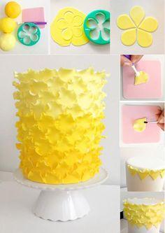 49 Ideas Cupcakes Decoration Tutorial Ruffle Cake For 2019 Cake Decorating With Fondant, Cake Decorating Techniques, Cake Decorating Tutorials, Cakes To Make, How To Make Cake, Fondant Cakes, Cupcake Cakes, Bolo Naruto, Novelty Birthday Cakes