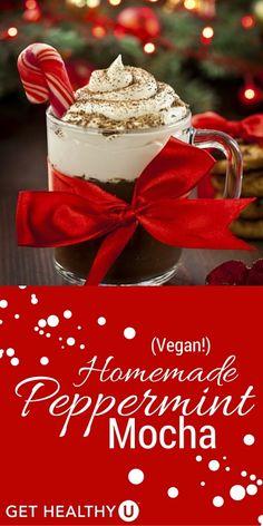 The perfect holiday beverage! Vegan peppermint mocha - so yummy! #holidaytreat #peppermintmocha