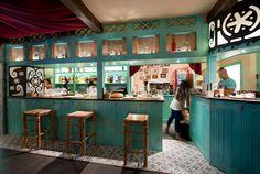 Ideas de #Cafeteria, Bar, Restaurante, estilo #Eclectico color  #Turquesa,  #Beige,  #Beige, diseñado por Antonio Toledo - Interiorista  #CajonDeIdeas