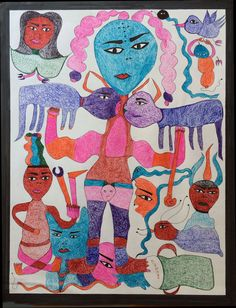 Mustafa Asmah, Untitled, Ballpoint pen Colored pencil and marker on paper, 2014