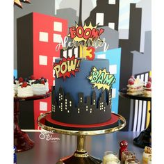 """Superhero 3 year old birthday cake on location amongst a Sweet Bloom Cakes signature dessert table 💨💥 . """"Alexander"""" gold topper by… 3 Year Old Birthday Cake, Superhero Birthday Cake, Avengers Birthday, Superhero Cake Toppers, Superhero Party, 4th Birthday, Birthday Cakes, Festa Pj Masks, Comic Party"""