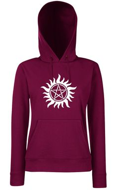 Burgundy hooded Supernatural woman trap has demons by CPmarquage