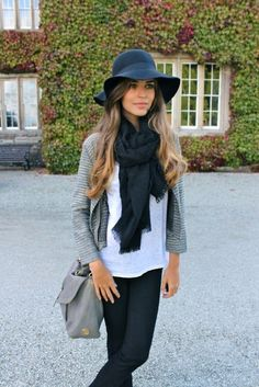 black floppy hat, black scarf, white T, grey cardigan, jeans.... floppy hat now please!