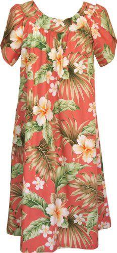 15d4f0e5fd5 RJC Womens Full Bloom Tropical Muumuu Tea Length Dress Coral S