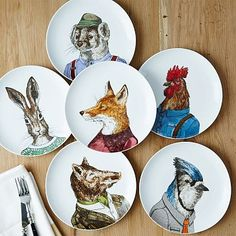 These would make great wall art for the dining room- I love using plates on the wall. Dapper Animal Plates