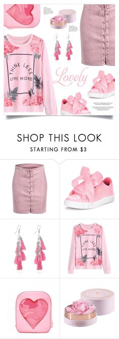 """""""Monday In Pink"""" by mahafromkailash ❤ liked on Polyvore featuring Puma and Lancôme"""