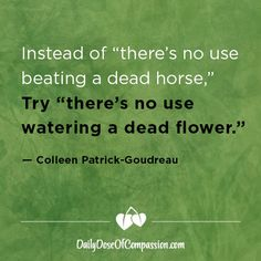 """Instead of """"there's no use beating a dead horse,"""" try """"there's no use watering a dead flower."""" -Colleen Patrick-Goudreau"""
