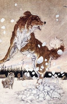 'CALL OF THE WILD'. Buck leapt in the air. Illustration by Paul Bransom to an early edition of Jack London's 'Call of the Wild,' first published in Wild Tattoo, Framed Art, Wall Art, Snow Pictures, Snow Photography, Call Of The Wild, Wild Dogs, Unique Art, Paintings