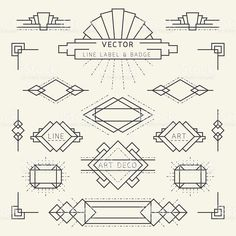 Linear Design Style Art Deco Style Line and Geometric Labels and Badges Monochrome royalty-free stock vector art Estilo Art Deco, Arte Art Deco, Moda Art Deco, Art Deco Logo, Art Deco Typography, Art Deco Font Free, Art Deco Bar, 1920s Art Deco, Art Nouveau