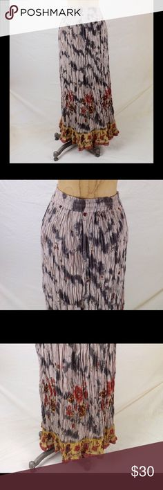 "vintage broomstick skirt 100% cotton semi sheer multi color ethnic print pull on stretch waist crinkle fabric good vintage condition gently/rarely worn waist 28-42"" hips 78"" length 35"" hem sweep 156"" 9 oz Venus Love Skirts A-Line or Full"