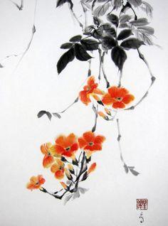 Japanese Ink Painting Japanese art Sumi-e Suibokuga Asian art