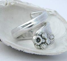 Silver Spoon Ring Daffodil 1950 by CaliforniaSpoonRings on Etsy. $19.50 USD, via Etsy.