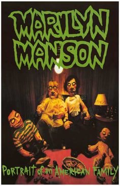 An awesome poster of the album cover art for Marilyn Manson's 1994 debut LP Portrait of an American Family! Ships fast. 11x17 inches. Check out the rest of our great selection of Marilyn Manson poster