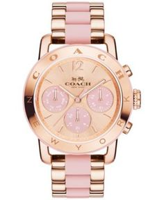 COACH Women's Chronograph Legacy Sport Rose Gold-Tone Stainless Steel and Blush Silicone Bracelet Watch 36mm 14502535 | macys.com