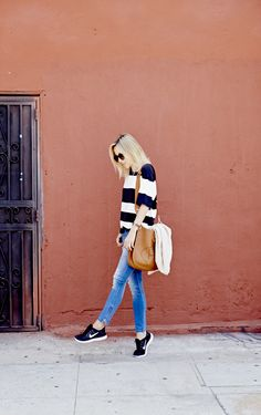 wide stripes, denim, tennis shoes, boyfriend cardigan