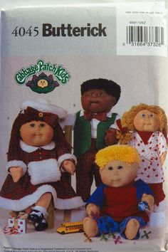 """Butterick 4045 Cabbage Patch Kids 16"""" and 20"""" Doll Clothes"""
