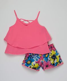 Another great find on #zulily! Girls Luv Pink Pink Crisscross Top & Floral Shorts - Toddler & Girls by Girls Luv Pink #zulilyfinds