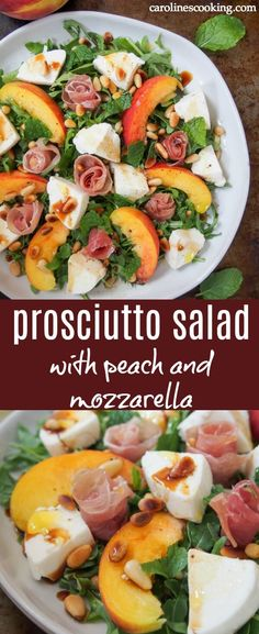 This prosciutto salad with peach and mozzarella is an elegant and delicious way to enjoy the fantastic flavors of summer. Better yet, it's easy to make. The only cooking is gently toasting the pine nuts then it's a few chops and assemble. The wonderful ingredients are even better together. #ad #prosciutto #prosciuttodiparma #salad #sumerrecipe #peach #mozzarella