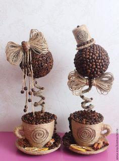 (1) Кофейный топиарий - коричневый,бежевый,Кофейный топиарий,кофейное дерево | Топиарий
