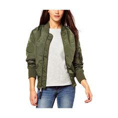 Vintage Army Green Flying Bomber Jacket JA0150039-1 ($59) ❤ liked on Polyvore featuring outerwear, jackets, green, bomber jacket, white zip jacket, flight jacket, olive bomber jacket and vintage bomber jacket