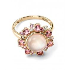 Captivating yellow gold ring with pink tourmaline, pink sapphire, white topaz, white crystal & pink shell. http://www.parsjewellery.co.uk/products/gold-jeweled-ring-by-elements-gold.php