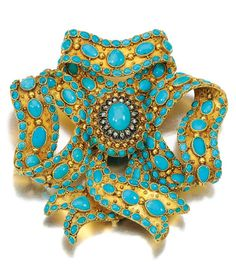 Sotheby's The Jewellery Collection of the Late Michael Wellby: An Eclectic Eye – Jewels Spanning Four Centuries.  Gold, turquoise and diamond brooch, Mid 19th Century. Designed as a ribbon tied as a bow, set with cabochon turquoises and highlighted with rose diamonds.