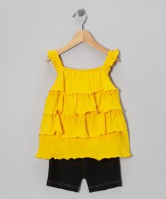Take a look at this Yellow Tiered Ruffle Tunic & Shorts - Infant, Toddler & Girls by Angel Face on #zulily today!