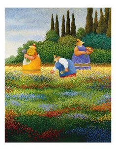 Lowell Herrero Summer Picnic Love Country Wine Landscape Print Poster 18x24