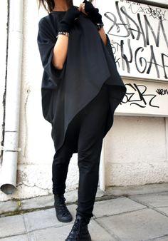 Oversized Loose Extra Large Black Blouse / Asymmetric by Aakasha, $72.00