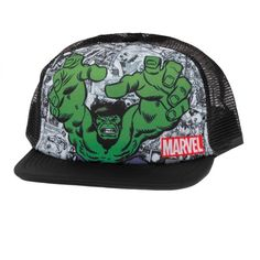 8a55fcb7d33 Incredible Hulk Comic Sublimation Trucker Snapback ( 22) ❤ liked on  Polyvore featuring accessories
