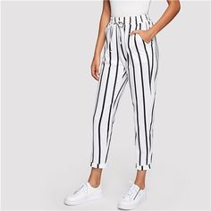 SHEIN Black and White Casual Drawstring Waist Striped High Waist Tapered Carrot Pants Summer Women Going Out Trousers Going Out Trousers, Fashion Pants, Look Fashion, Stripped Pants, Tapered Trousers, Type Of Pants, Ankle Length Pants, Urban Street Style, White Casual