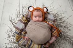 Baby boy fox in fall colors | Knit Together Photography, located in Boylston, MA | Central MA Newborn Photographer