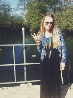 Urban Outfitters Maxi Dress, Levi's Vintage Denim Jacket, Nordstrom  Bib Necklace, Ray Ban Aviators Oversized Denim Jacket, Aviators, Vintage Levis, Urban Outfitters, Nordstrom, How To Wear, Jackets, Dresses, Down Jackets