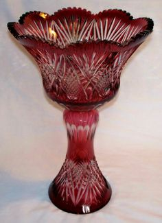 "Caesar 17 1 2"" Crystal Vase Cased Czech Republic Bohemian Estate Red Clear 