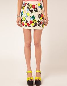 River Island Floral Sequin Skirt