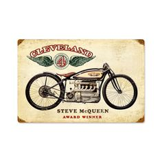 From the Classic Motorcycle licensed collection, this Cleveland Steve McQueen vintage metal sign measures 18 inches by 12 inches and weighs in at 2 lb(s). We hand make all of our vintage metal signs in the USA using heavy gauge american steel and a process known as sublimation, where the image is...